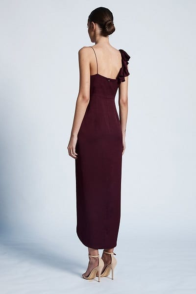 Bridesmaids_Shona_Joy_Luxe_SJ3510_Asymmetrical_Frill_Dress_Bridesmaid_Dresses_Melbourne_Garnet_Back