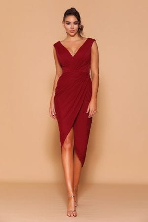 Les_Demoiselle_LD1115_Bridesmaid_Dresses_Melbourne_Bridesmaids_Dressing_Room_Maroon_Front
